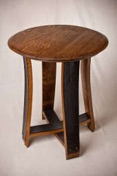 Accent Table -Barrel Top, Stave Legs, No Bands, Red Mahogany
