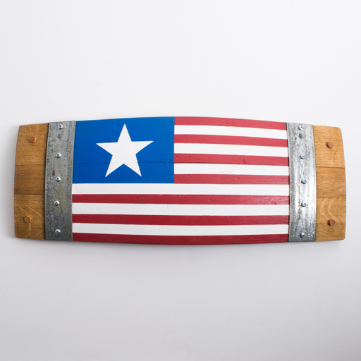 Banded Barrel Stave American Flag, 1 Star