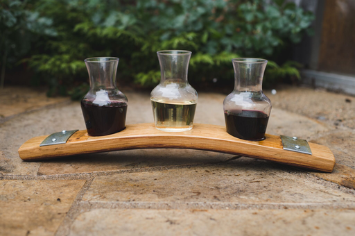 Banded Barrel Stave Wine Flight with Decanters