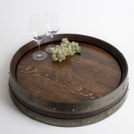 "Banded Lazy Susan 24"" Dark Walnut"