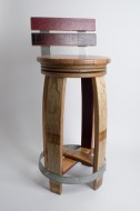 Backed Barrel Head Stool with Swivel