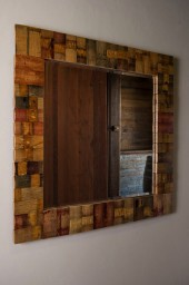 Barrel Stave Mirror, Square, Natural Finish