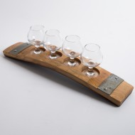 Barrel Stave Tequila Flight with Copper Shot Glasses