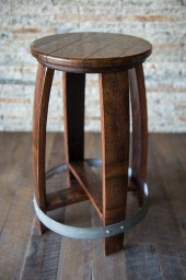 "Barrel Counter Stool, 24"", Red Mahogany"