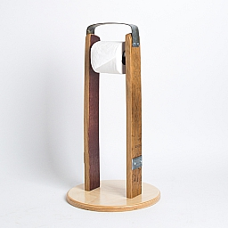 Stand-Alone Toilet Roll Holder, Band Accents, Natural Finish