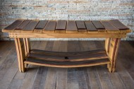 Wine Stave Bench with Storage Shelf