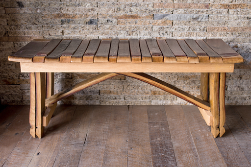 Wine Stave Bench with Cross-braces