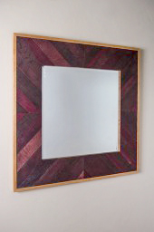 Chevron Wine Barrel Mirror, Square, Wine Stain Finish