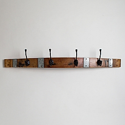 Large Classic Black Coat Rack with Bands