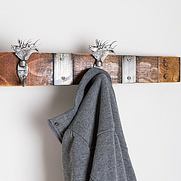 Large Pewter Elk Coat Rack with Bands, Choice of Finish