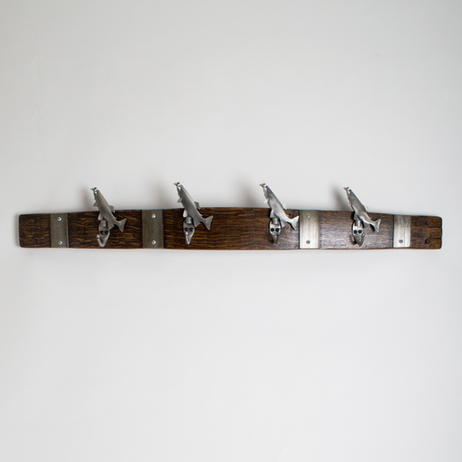 Large Pewter Trout Coat Rack with Bands, Choice of Finish