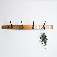 Large Wine Barrel Coat Rack with Iron Hooks