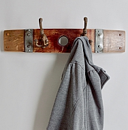 Small Banded Double Cast Iron Coat Rack