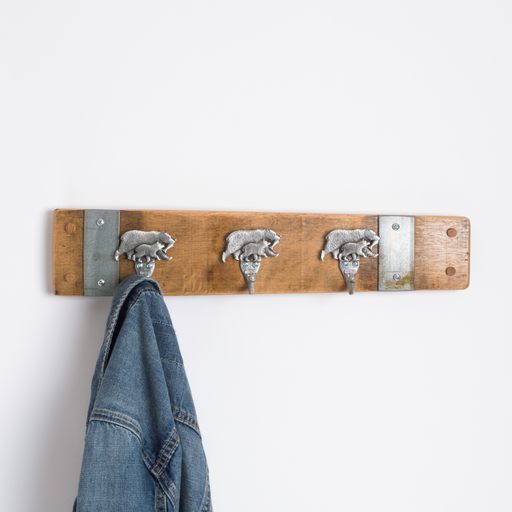 Small Pewter Bear Coat Rack with Bands, Choice of Finish
