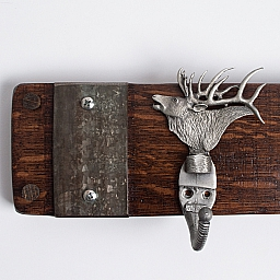 Small Pewter Elk Coat Rack with Bands, Choice of Finish