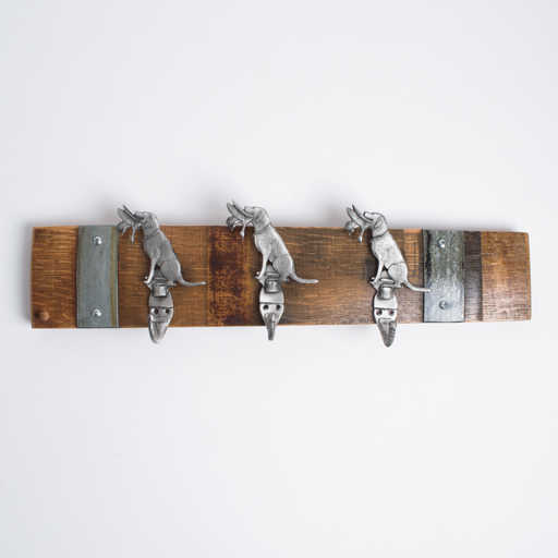 Small Pewter Hunting Dog Coat Rack with Bands, Choice of Finish