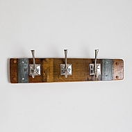 Small Banded Coat Rack with Square Nickel Hooks