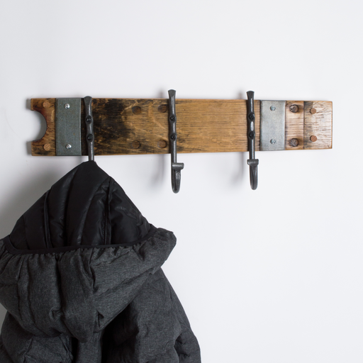 Small Wine Barrel Coat Rack with Forged Hooks and Bands
