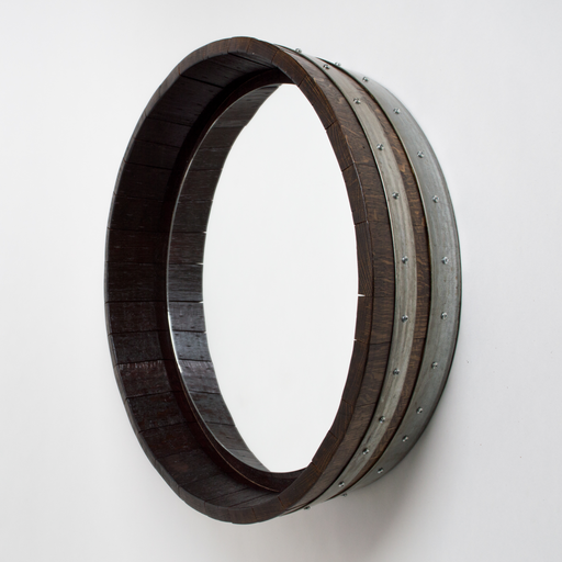 Dark Walnut Inverted Wine Barrel Mirror