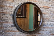 Dark Walnut Wine Barrel Mirror