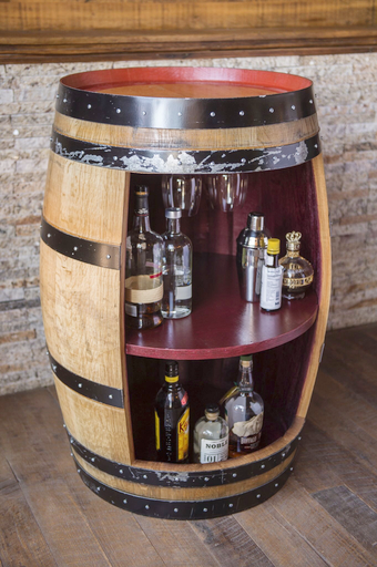 Wine Barrel Bar Cabinet