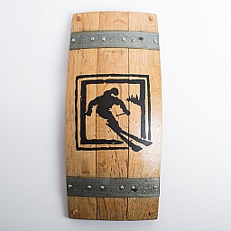 Banded Barrel Stave Art, Elevation Alpine Skier