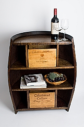 Half Wine Barrel Cabinet, CAKEBREAD Crate Drawers, Dark Walnut Finish