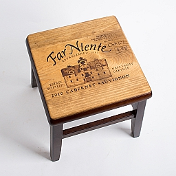 Step stool, FAR NIENTE CABERNET, Dark Walnut Base