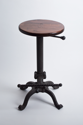 Wine Crate Adjustable Stool, Wrought Iron Base, Red Mahogany Top