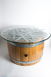 "Barrel and Band Coffee Table with 36"" Glass Top"