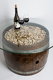 Dark Walnut Wine Barrel Coffee Table with Cork and Glass Top