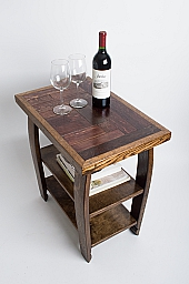 Wine Stave Side table with Shelf, Dark Walnut Finish