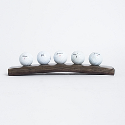 5 Ball Golf Ball Display, Dark Walnut Finish