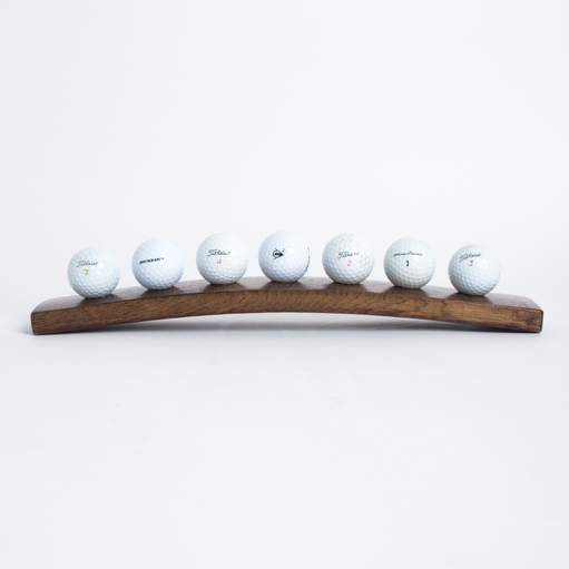 7 Golf Ball Display, Dark Walnut Finish