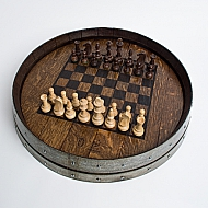 Wine Barrel Chess Board, Dark Walnut Finish