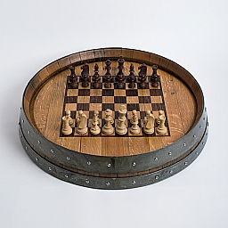 Banded Wine Barrel Chess Board, Engraved, Natural Finish