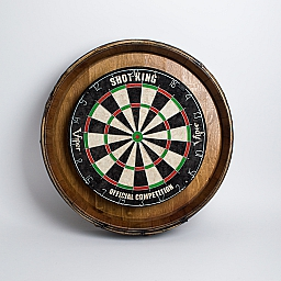 Wine Barrel Dartboard, Natural Finish, Deluxe with Reeds and Black Painted Bands