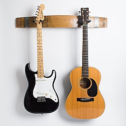 Double Wine Barrel Guitar Rack, Natural Finish