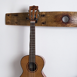Double Wine Barrel Guitar Rack with Bunghole, Natural Finish