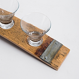 Banded Snack Dish, Small, 3 Glasses, Natural