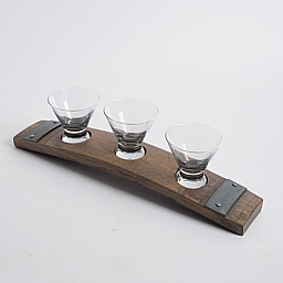 Banded Snack Dish, Small, 3 Glasses, Weathered Gray