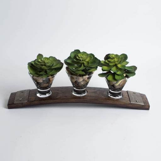 Banded Snack Dish, Small, 3 Glasses, Dark Walnut