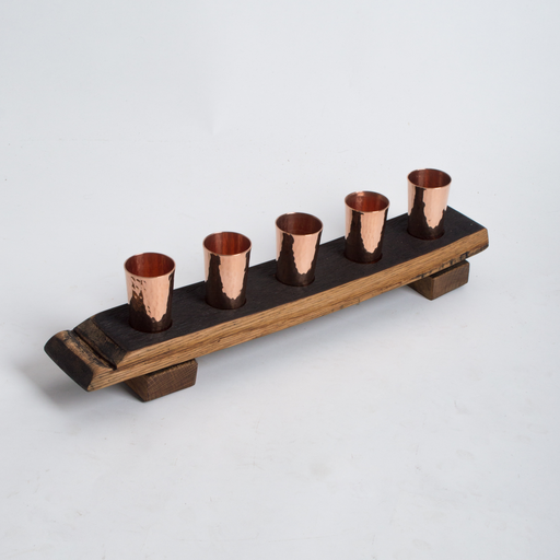 Inverted Barrel Stave Tequila Flight with Feet, Five Copper Shot Glasses, Natural