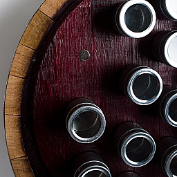 Inverted Wine Barrel Spice Rack- Circular with 19 Aluminum Cans