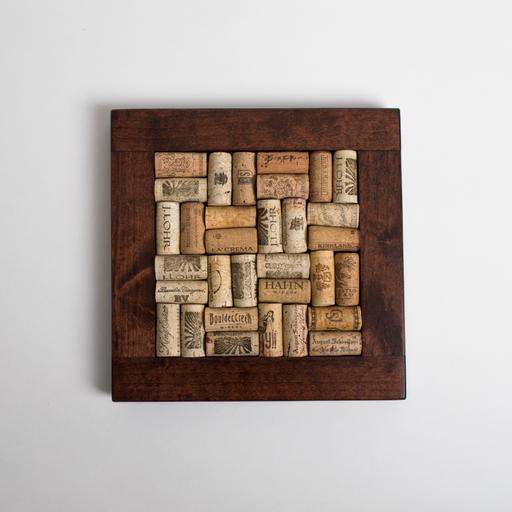 Small Trivet with Corks, Red Mahogany