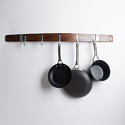 Banded Wine Barrel Pot rack, 5 Stainless Hooks, Red Mahogany