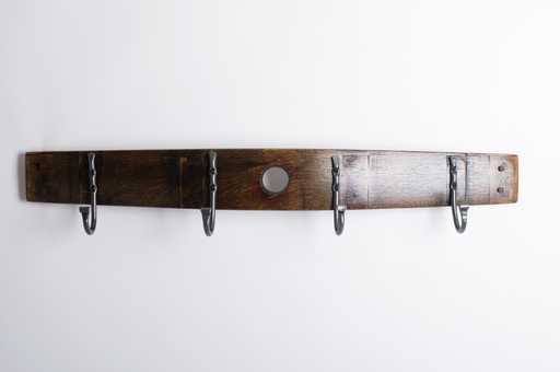 Coat Rack, 4 premium forged hooks, bunghole, dark walnut finish