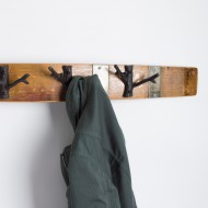 Large Banded Coat Rack with Branch Hooks
