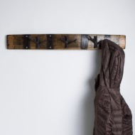 Whiskey Barrel Coat Rack with Branch Hooks