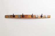 Large Banded Coat Rack with Round Oil Rubbed Bronze Hooks
